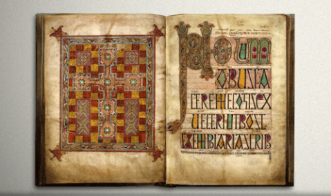 Lindisfarne Gospels produced at Lindisfarne. Now housed at the British Library. photo from eadrith.tumblr