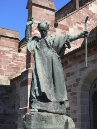 Statue of St. Columbanus at Luxeuil, one of the monasteries he founded in France