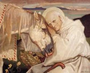 Columba and his white horse that predicted his master's death