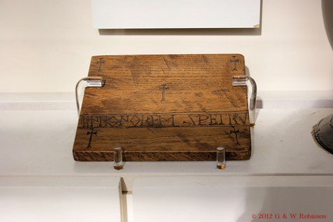 A reproduction of St. Cuthbert's portable altar table that was buried with him