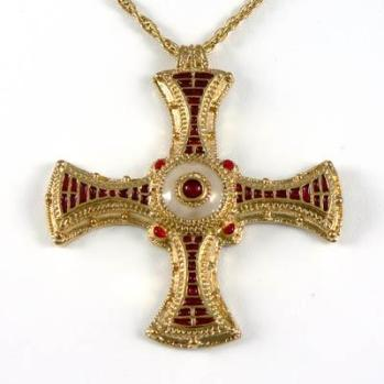 St. Cuthbert's pectoral cross found on his incorrupt body. I purchased an inexpensive copy of this at Durham Cathedral that I treasure.