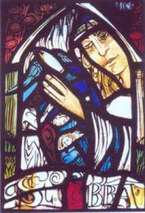 "Stained glass panel by Joanna C. Scott ""Pilgrims at the waters of the Spring of St Ebba"""