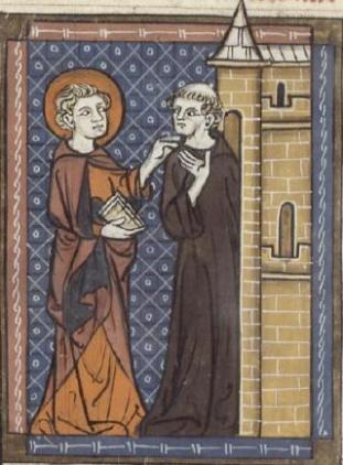 Fursey and a monk from 14th. century manuscript.