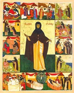 St. Hilda by Edith Reyntiens of England, a Russian Orthodox iconographer. This icon resides in Durham Cathedral.