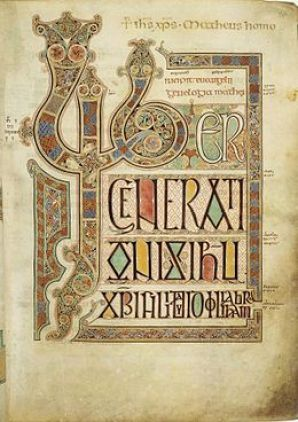 Gospel of Matthew page from the Lindisfarne Gospels. British Library.