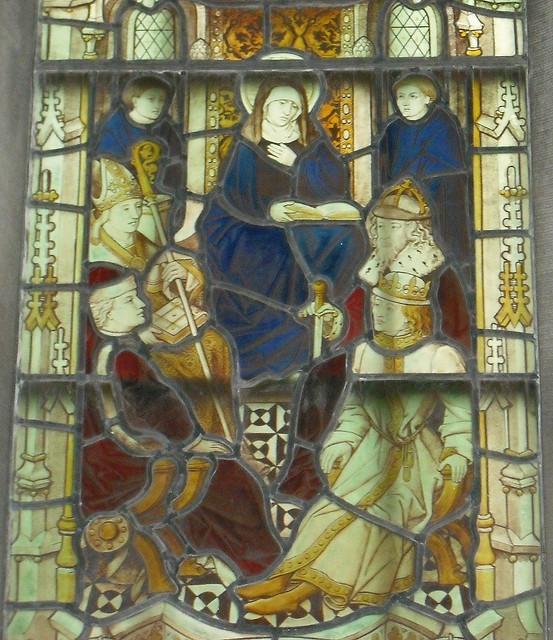 St. Hilda presiderer ved Synoden i Whitby. Glassmaleri av ukjent kunstner, St. Hilda's Priory, Sneaton Castle i Whitby