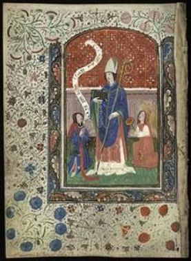 Ninian in the 14th c. Book of Hours of the Virgin and Saint Ninian. photo from Wikipedia
