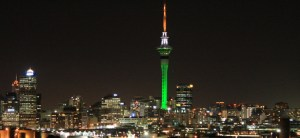 Auckland's Sky Tower lit up in the colours of Ireland, green, white and orange. (Pic: Martin Conlon)