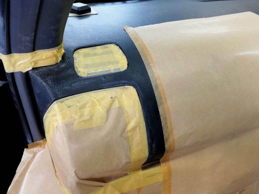 ランドクルーザープラド ダッシュボード割れ補修 充填剤補充