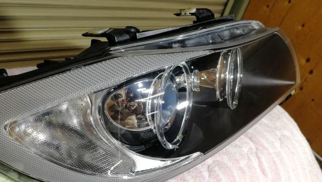 BMW E90 320i ヘッドライトコーティング SPASHAN スパシャン ヘッドライトスチーマー2 SPEED 施工後