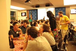 Second-year students from all campuses gathered around Italian-themed tables together to get to know each other. (Nimisha Jaiswal)