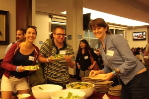 From left to right: Anika Sellier, Evan Fowler and Doireann Breathnach were thrilled by the dinner. (Nimisha Jaiswal)