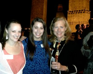 Margel Lindzey Highet (right), director of student affairs at SAIS Europe, shown here with students Jackie Chase (center) and Leah Ewald. (Anthea Blaikie, Rachel Finan & Meredth Peters)
