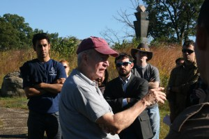 Dr. Keaney explains the importance and role of artillery for both the Union and Confederacy at the Battle of Gettysburg. (Jameel Khan)