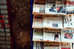 Newspapers in downtown Cairo on July 4th, 2013, the day after the Egyptian military deposed the country's first democratically elected president Mohammad Morsi. (SARAH RASHID)