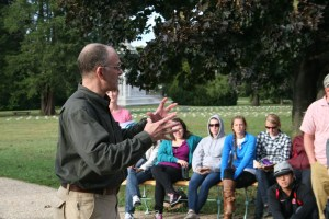 Dr. Eliot Cohen explains the implications of the Battle of Gettysburg and the importance of the Gettysburg Address at the location where President Abraham Lincoln delivered the address on November 19, 1863. (Jameel Khan)