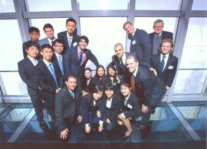 SAIS students and Robert Shields stand together at the Oriental Pearl Tower, Shanghai during the January 2013 Career Trek. (Courtesy of Robert Shields)