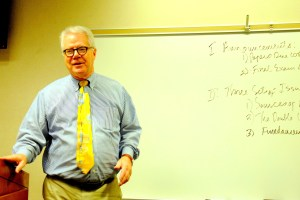 Professor David Lampton lectures during his course on Chinese Foreign Policy. (Sarah Rashid)