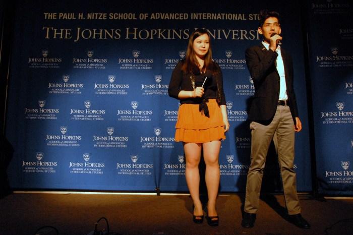 Hosts Marco Sanchez Junco and Ellen Wong congratulate the contestants before announcing 2014 Mr. and Ms. SAIS. (Sarah Rashid)