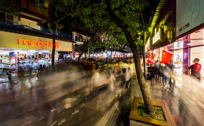 Fu Zi Miao, or Confucius Temple, is so packed during Guo Qing Jie that you can barely move.  Chinese come from all over for the sights and shopping.