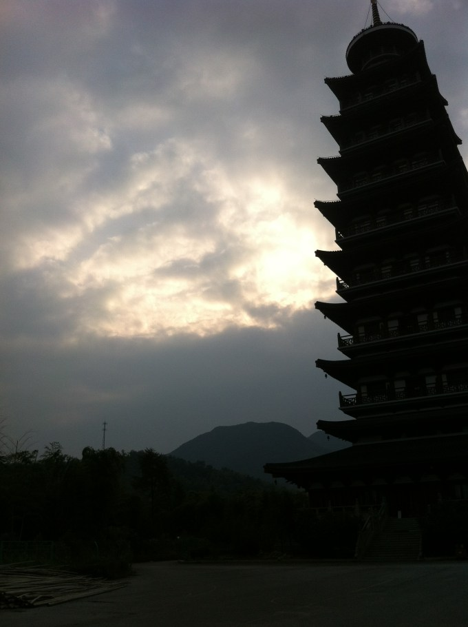 The Pagoda next to the Temple in the early morning.