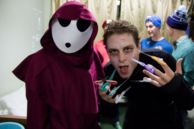 HNC students Shy Guy and Edward Scissorhands enjoy the festivities. (All photos by Theo Robie)