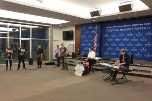 Members of The Grateful Fed band perform during the end-of-year happy hour in Kenney Auditorium in Fall 2014 (Photo by Zirra Banu)
