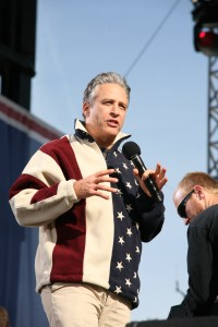 Jon Stewart speaks at the Rally to Restore Sanity And/Or Fear in October, 2010. (Image Credit/Source: Photo Courtesy of Cliff (flickr: cliff1066))