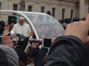 Pope Francis and the Popemobile drove within five meters of one group of SAIS students who attended Easter mass at the Vatican. (Courtesy of Jorge Ayache)