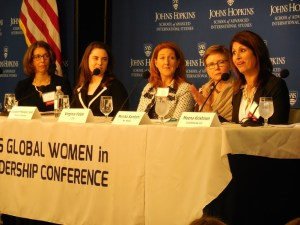 Panelists on the Mindsets panel discuss issues relevant to women in all sectors. From left to right: Lydia La Ferla, Marie Fishpaw, Elizabeth Madigan Jost, Virginia Volpe, Monika Samtani. (Photo by Zirra Banu)