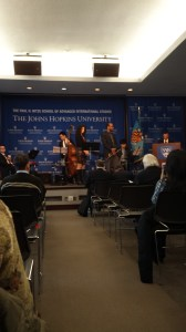 The Peabody Jazz Quintet tees up for the performance as Dean Nasr delivers remarks on March 9, 2015. (Photo by Rui Zhong)