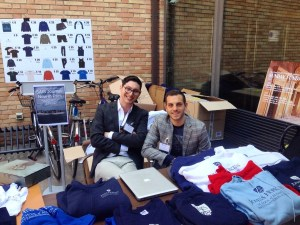 SGA representative Derek Brooks and SGA President Andrew Caruso distribute and sell SAIS-wear as Alumni Weekend kicks off in Bologna. (Photo: Bryn Jansson)