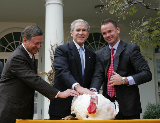 GWB:  Pardoning of the National Thanksgiving Turkey.  Rose Garden
