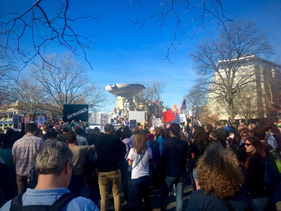 """As a part of the nationwide """"Not My President's Day"""" rally, residents in Washington, D.C. gather near SAIS at DuPont Circle to protest the Trump administration. (Photo Credit: Fatima Nanavati)"""