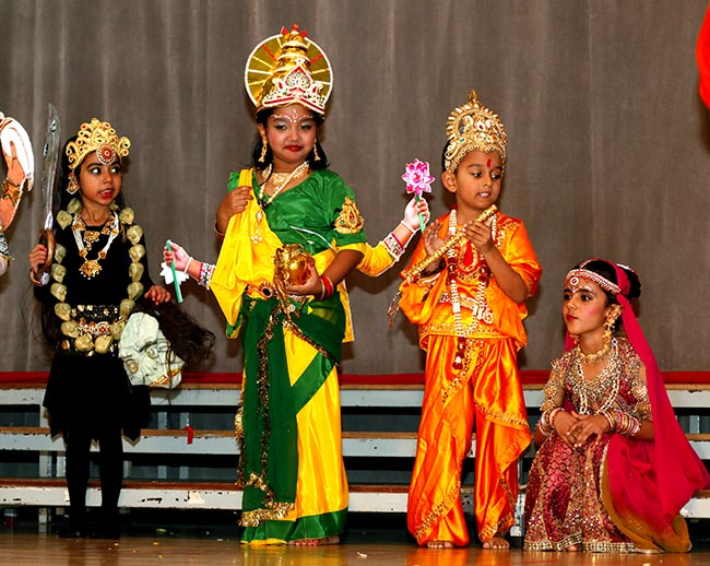 Children dressed as deities for Birthday drama
