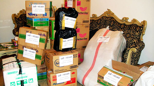 Supplies to be distributed to volcano victims