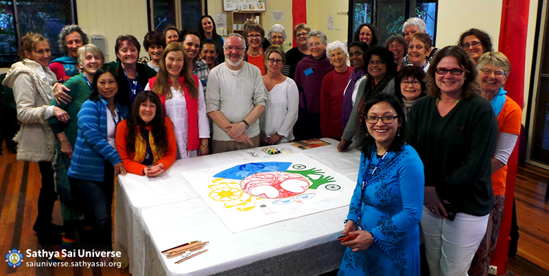 Australia - Ladies Retreat at Buddhist Temple - Human Values Mandala activity