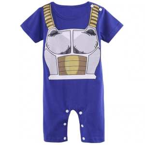 DBZ Vegeta's Armor Cosplay Short Sleeve Blue Baby Jumpsuit