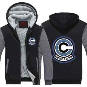Classic Capsule Corp Logo Gray & Black Zip Up Hooded Jacket