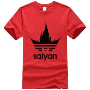 DBZ Black Saiyan Adidas Parody Print Light Red T-Shirt