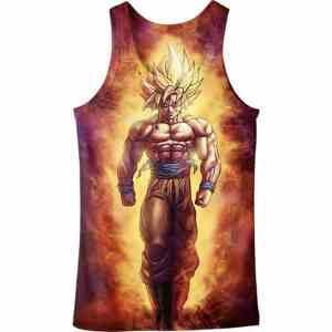 SSJ2 Son Goku Super Saiyan 2 Flame Fire 3D Tank Top - Saiyan Stuff