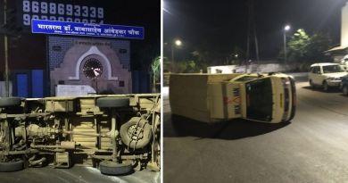 Milk transport tempo accident in Yerwada