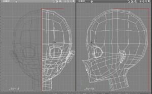 人物CG頭部3面図