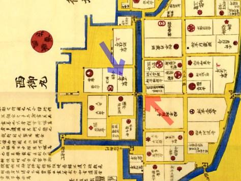 古地図:安政七年(1860年)大名小路神田橋内内櫻田之圖より松平下総守と馬場先門。
