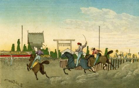小林清親画「九段馬かけ」