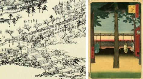 江戸名所図会の部分と歌川広重画「神田明神曙之景」