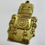 真鍮製 早稲田ロボットキーホルダー