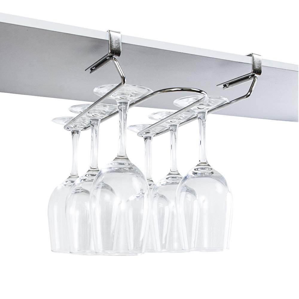 ワイングラスホルダー ワイングラスハンガー 18/8ステンレス製 吊り下げ 穴あけ不要 ネジ止め不要 (板の厚さが1~2.5cmまで対応)