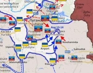 Linea del fronte intorno a Lugansk, 15 agosto