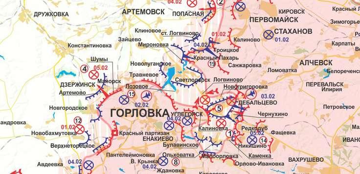 """La linea del fronte a Debaltsevo alla vigilia dell'attacco decisivo """"Olkhon"""" e il GRU DPR a Logvinovo."""